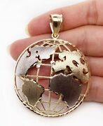 10k Two Tone Gold Round Globe Planet Earth World Map Pendant 2 11.6 Grams