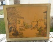 Signed Paul Emile Lecomte Print Borin Art Products Wooden Framed 32.75 X 22.5