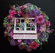Shades Of Purple Pink Floral Happy Spring Window Large 24 Deco Mesh Wreath New