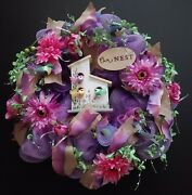 Shades Of Purple Pink Our Nest Bird House Birds Large 24 Deco Mesh Wreath New