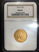 1916 S 5 Ngc Ms62 Us Five Dollar Gold Mint State