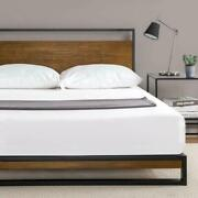 Zinus Suzanne Metal And Wood Platform Bed With Headboard / Box Spring Optional /