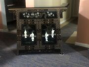 Vintage Handpainted Black Wood Lacquered Chinese Cabinet W/mother Of Pearl Dolls