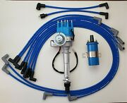 Chevy 327 350 Small Blue Hei Distributor + 8.5mm Wires Under Exhaust + 45k Coil