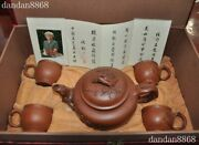 Old Chinese Yixing Zisha Pottery Master Hand Carved Teapot Pot Tea Maker Cup Set