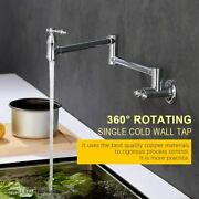 Modern Chrome Wall-mount Pot Filler Kitchen Sink Faucet Cold Only Double Handle