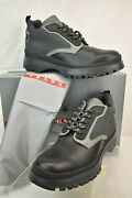 Prada 4t3142 Black Two Tone Fabric Leather Lace Up Hiking Short Boots 12 Us 13