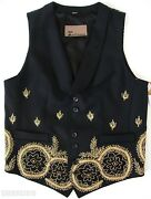 2900 John Galliano Runway Black Gold Mexican Pearl Embroidered Vest 44 Us-34 S
