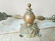 Rare Antique Bronze Double Arm Wall Sconces Etched Shades 2 Matched Pair