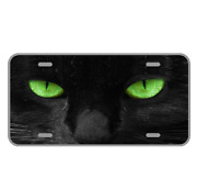 Custom Personalized License Plate Car Auto Tag Design With Cat Green Eyes