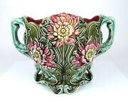 Antique French Majolica Cache Pot Planter Vase Onnaing Jardiniandegravere Pottery Floral