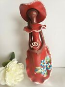 Dominican Handmade Hand-painted Clay Faceless Red Doll Roja One Of A Kind