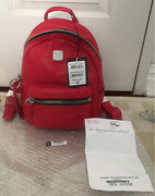 Mcm Tumbler Leather Backpack / Rouge Rubis Muk6atr23ru001 Authentique