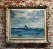 John Morris - View Of Venice From The Bay -oil Painting -c1940s