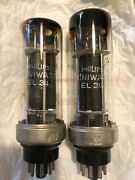 Philips El34 1949 First Batch Ever Made Pair Tubes Dark Toast Plates Metal Base