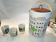 Vintage 1970s Logan Nyc New York City Brownstone Ice Bucket And 3 Cocktail Glasses