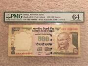 India Demonetised 500 Rs D.subbarao Fancy Serial Number And0391000000and039 Pmg Gaded 64