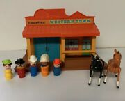 Vintage Fisher Price Little People 934 Western Town Cowboys Indian Horse Sheriff