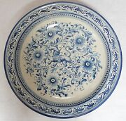Lg Italian Majolica Pottery Wall Charger Platter Bowl W/ Lion Blue And White 19