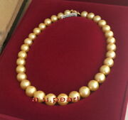 Aaaaa 1713-15mm Natural Real Round South Sea Golden Pearl Necklace 14k Gold