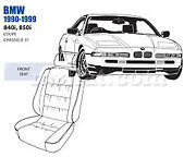Bmw 840i 850i Front Leather Seat Cover Set 1990-99 Oem New