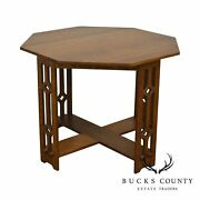 Arts And Crafts Antique Oak Octagonal Center Table With Pierced Legs
