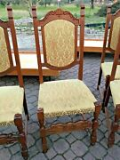Set 5 Chairs Wooden Ancient Padded Armchairs Vintage Kitchen Floral Antique