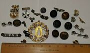 Mixed Lot Moslty Usa Military Buttons Pins 42 L, Omaha, Usn Pin By Hh And More