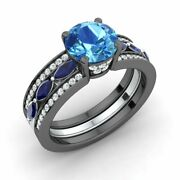 2.39 Ctw Natural Blue Topaz Sapphire And Diamond Engagement Ring 14k Black Gold