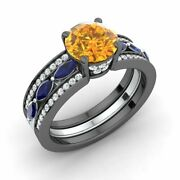 2.39 Ctw Natural Citrine Sapphire And Diamond Engagement Ring In 14k Black Gold
