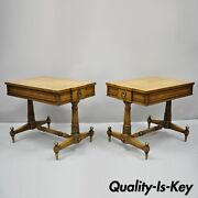 Pair Of Vintage Weiman Kameo French Regency Style Banded Walnut End Tables