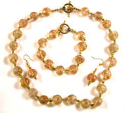 Authentic Vintage Murano 14k Gold Foil Glass Necklace, Earrings, And Bracelet
