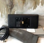Tom Ford Natalia East West Black Leather Convertible Clutch Bag