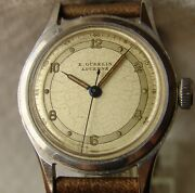 Wwii Period Menand039s E. Gubelin Lucerne Steel Wristwatch Good Condition