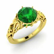 1.00 Carat Natural Emerald Vintage Inspire Engagement Ring In 14k Yellow Gold