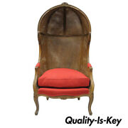 Vintage French Country Louis Xv Style Double Cane Italian Canopy Porter Chair