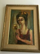 Oil Painting In The Manner Of Jean Jansem Woman Holding A Flower