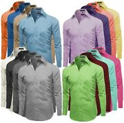 Omega Italy Menand039s Premium Slim Fit Button Up Long Sleeve Solid Color Dress Shirt