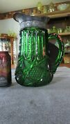 Rare U.s. Glass Emerald Green With Pewter Top Illinois Pattern Water Pitcher