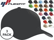 Flexfit Fitted Baseball Hat Three Pack 6277 Wooly Combed Twill Cap Blank