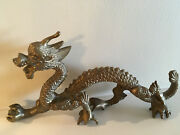 Rare Vintage Solid Brass Bronze Dragon Holding Globe In Claws
