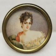 Antique Miniature Portrait Oil Watercolor Painting Sterling Pin Brooch Lady