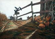 Charles Pace Painting 48x34 Large New England Farm Road Fall Harvest Landscape