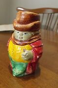 Vintage Toby Jug Style Match Holder - Chalkware Nicely Handmade And Hand Painted
