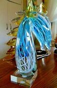 Murano Italy Blown Glass Rare Horse Bust Retailed Over 3,200.00, Original Tag