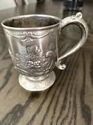 Corbell And Co Silverplated Intricate Floral Embossed Pattern Cup Mug Vintage