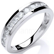 9ct Hallmarked White Gold 0.75 Cts H Si Certified Diamond Half Eternity Ring
