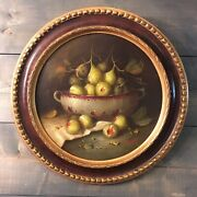 Pair Of Round Antique Oil Paintings In Frame