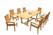 A-grade Teak 9pc Dining 94 Mas Rectangle Table Goa Stackng Arm Chairs Set Patio