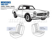 Mercedes 230 250 280sl Roadster California Coupe Front Seat Cover Set 1963-71